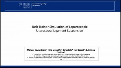 LAPAROSCOPIC UTEROSACRAL LIGAMENT SUSPENSION TASK TRAINER