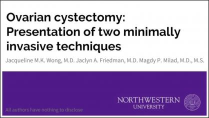 Ovarian cystectomy: Presentation of two minimally invasive techniques