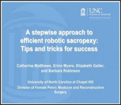 A stepwise approach to efficient robotic sacropexy: Tips and tricks for success