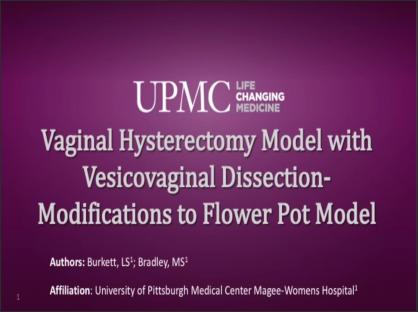 Vaginal Hysterectomy Model with Vesicovaginal Dissection - Modifications to Flower Pot Model