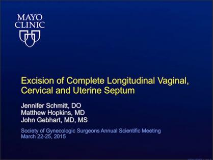 EXCISION OF A COMPLETE LONGITUDINAL VAGINAL, CERVICAL, AND UTERINE SEPTUM