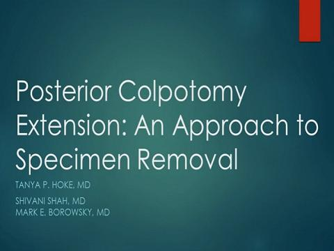 POSTERIOR COLPOTOMY EXTENSION: AN APPROACH TO SPECIMEN REMOVAL