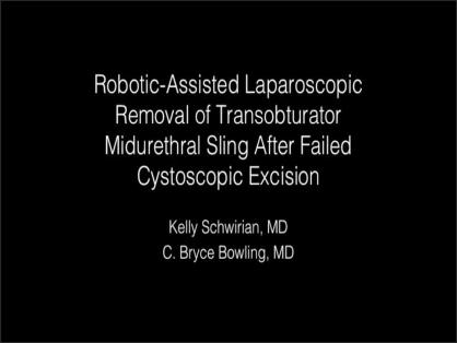 ROBOTIC-ASSISTED LAPAROSCOPIC REMOVAL OF ERODED TRANSOBTURATOR MIDURETHRAL SLING AFTER FAILED CYSTOS