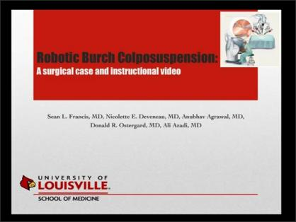 ROBOTIC BURCH COLPOSUSPENSION: A SURGICAL CASE AND INSTRUCTIONAL VIDEO