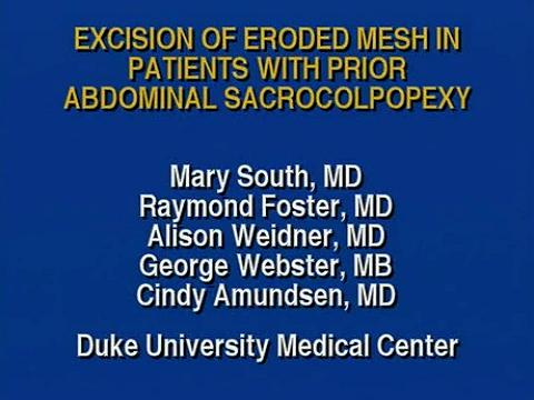 EXCISION OF ERODED MESH IN PATIENTS WITH PRIOR ABDOMINAL SACROCOLPOPEXY