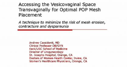 ACCESSING THE VESICOVAGINAL SPACE TRANSVAGINALLY FOR OPTIMAL POP MESH PLACEMENT