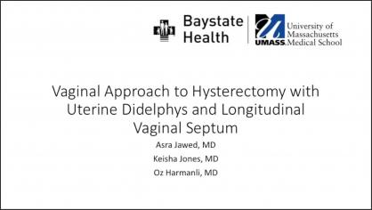 Vaginal Approach to Hysterectomy with Uterine Didelphys and Longitudinal Vaginal Septum